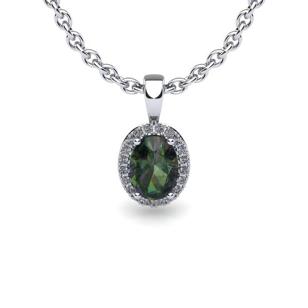 14k White Gold 1 1/2 TGW Oval Shape Mystic Topaz and Halo Diamond Necklace with 18-inch Chain 18086962
