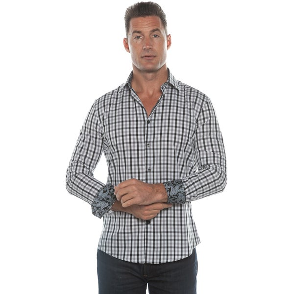 Isaac B. Grey Plaid Long Sleeve Button Down Shirt