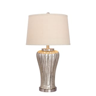 28.5-inch Mercury Glass Table Lamp with Brushed Steel Metal Accents