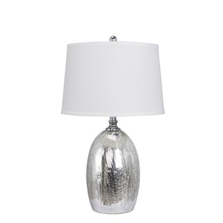 28-inch Glass Table Lamp in Silver Finish