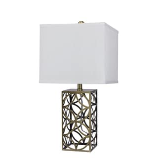 23.5-inch Openwork Metal Table Lamp in Painted Antique Brass Finish