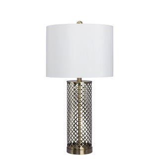 27.5-inch Openwork Metal Table Lamp in Antique Brass Finish