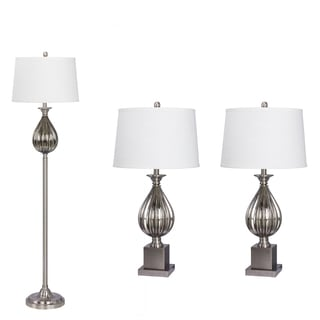 3-piece Lamp Set in Brushed Steel