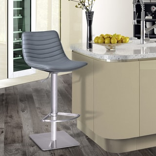 Armen Living Luna Adjustable Swivel Barstool in Brushed Stainless Steel with PU upholstery