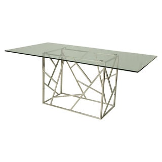 Stainless Steel Rectangular Dining Table with Glass Top