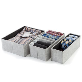 Grey 3 Piece Collapsible Fabric Drawer Organizer Set