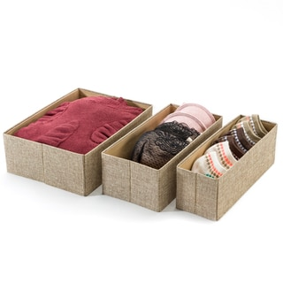 Beige Foldable Closet Organizer Storage Boxes (Set of 3)