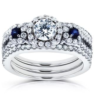 Annello 14k White Gold Sapphire and 1 1/4ct TDW Diamond Halo Three Stone Double Band Bridal Set (H-I, I1-I2)