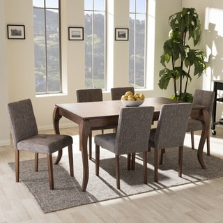 Baxton Studio Eos Mid-century Modern Solid Walnut Wood 7-piece Dining Set