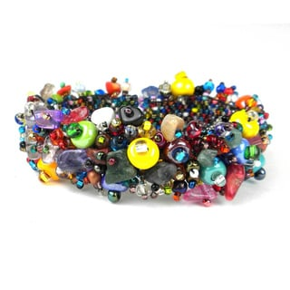 Handcrafted Stone and Bead Magnetic Caterpillar Bracelet - Beach Ball (Guatemala)