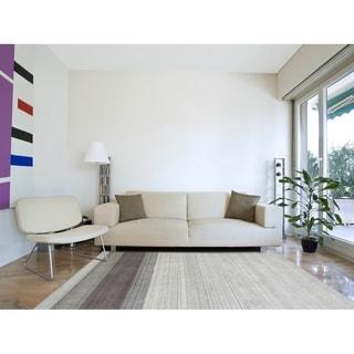 Hand-Woven Berkley Light Gray Blended New Zealand Wool and Art Silk Area Rug 9'x12'