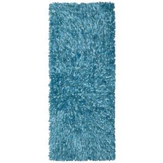 Aqua Shimmer Shag Rug Runner (2'x5') - 2' x 5'