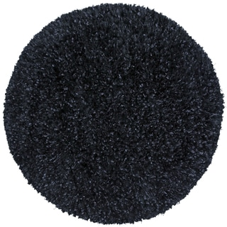 Black Shimmer Shag Rug (2'x2')