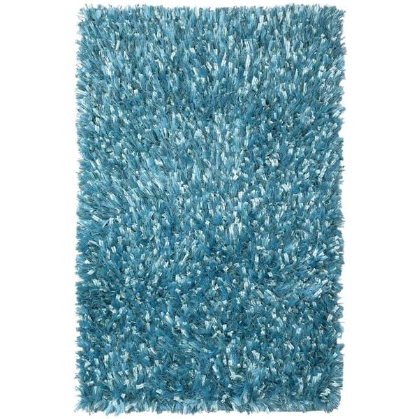Plush Shimmer Rug: Aqua Shimmer Shag Rug (30 X 50-inch)