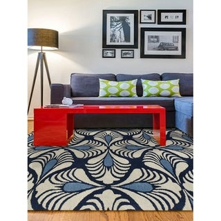 Hand-Tufted Gabriel Navy Blue Blended New Zealand Wool Area Rug, (7'6x9'6)