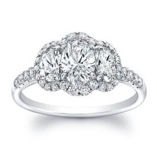 18k White Gold 1 3/5ct TDW Diamond Oval Shape 3-stone Ring (G-H, VS1-VS2)