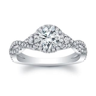 18k White Gold 1 3/4ct TDW Diamond Halo Braided Shank Ring (H-I, VS1-VS2)