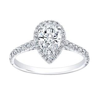 18k White Gold 1 1/4ct TDW Diamond Pear-shape Halo Ring (G-H, VS1-VS2)