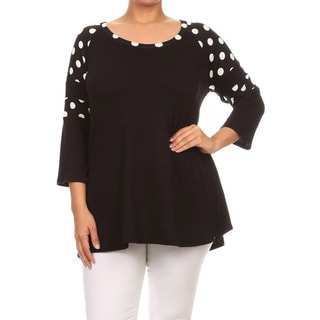 MOA Collection Plus Size Polka Dot Shoulder Top
