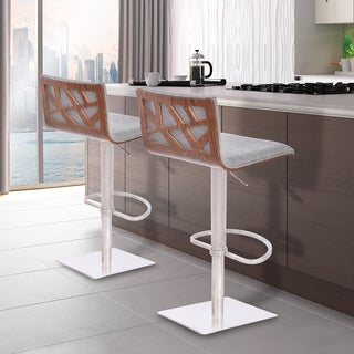 Armen Living Crystal Barstool in Brushed Steel finish with Grey Fabric upholstery and Walnut Back