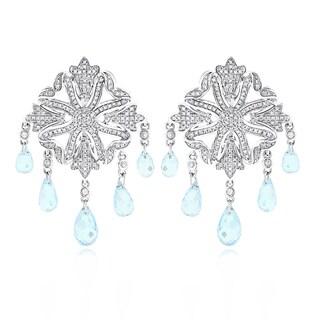 Luxurman 14k Gold 5/8ct TDW Diamond Chandelier Earrings Blue Topaz (H-I, SI1-SI2)