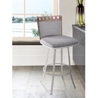 Armen Living Coco Swivel Barstool in Brushed Stainless Steel finish and Grey Fabric