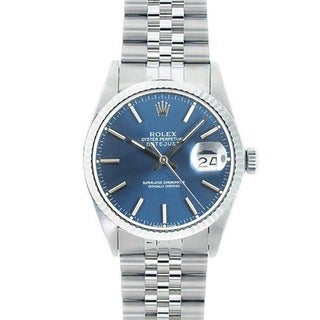 Pre-owned Rolex Men's Stainless Steel Datejust Watch Blue Dial 18K White Gold Bezel