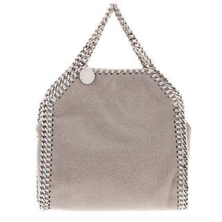 Stella McCartney Tiny Falabella Metallic Light Grey Faux Suede Tote