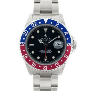 Pre-owned Rolex GMT Master II Red & Blue Bezel Stainless Steel Watch Model 16710