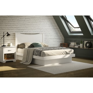 "South Shore Basic Pure White Full Size Platform Bed with Moldings (54"")"