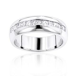 Luxurman 14k Gold 1 1/5ct TDW Diamond Men's Wedding Ring (H-I, SI1-SI2)