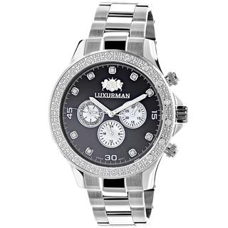 Luxurman Men's Stainless Steel Liberty 1/5ct TDW Diamond Black Mother of Pearl Swiss Quartz Watch