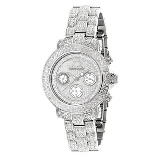 Luxurman Women's White Goldplated Stainless Steel Montana Iced Out 1 1/2ct TDW Diamond Quartz Watch