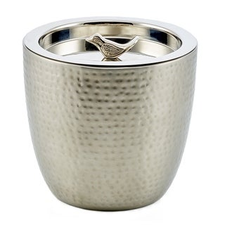 """1.5 Quart. """"Churp"""" Hammered Double-Walled Stainless Steel Ice Bucket with Bird Knob"""