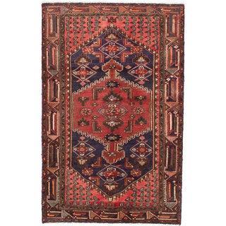 ecarpetgallery Hand-knotted persian Hamadan Blue/ Red Wool Rug (4'1 x 6'4)