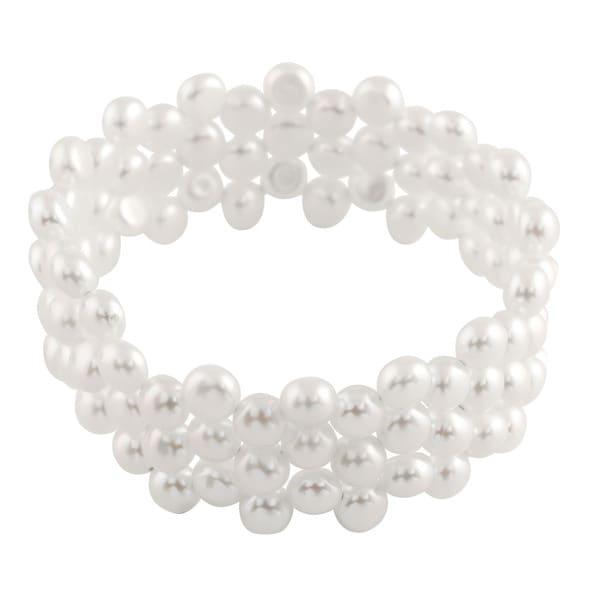 Triple Row Coil Pearl Bracelet