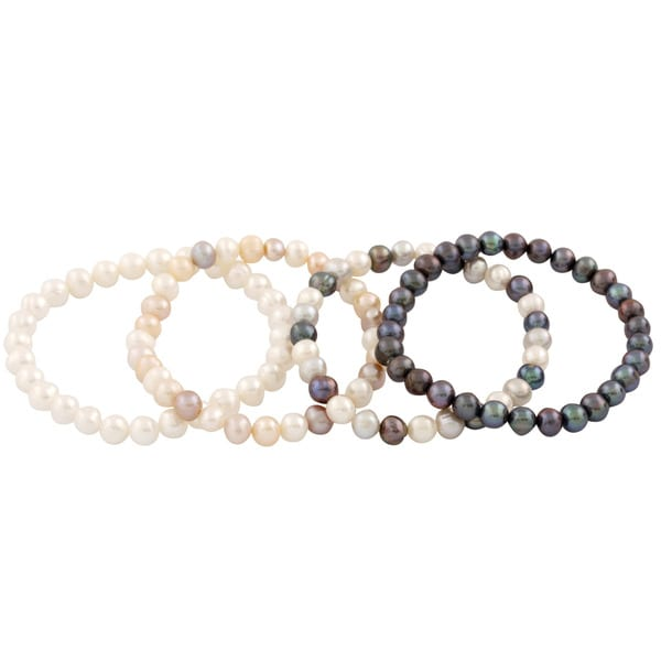 Freshwater Pearl Elastic Set of 4 Bracelets (6-7mm)