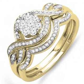 14k Gold 1/2ct TDW Diamond Bridal Cluster Center Engagement Ring Set 1/2ct (H-I, I1-I2)