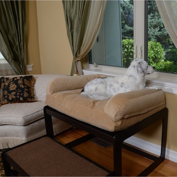 Lacey 39 s lookout medium espresso pet window seat 18591077 for Cat window chaise