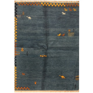 Herat Oriental Indo Hand-knotted Gabbeh Blue/ Gold Wool Rug (5' x 6'6)