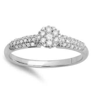 10k Gold 1/3ct TDW Diamond Bridal Cluster Promise Engagement Ring (I-J, I2-I3)