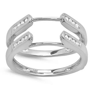 14k White Gold 1/4ct TDW Diamond Guard Double Ring Wedding Band (H-I, I1-I2)