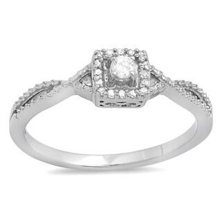 10k White Gold 1/6ct TDW Diamond Crossover Split Shank Engagement Bridal Promise Ring (I-J, I2-I3)