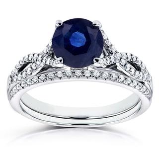 Annello 14k White Gold Blue Sapphire and 1/5ct TDW Diamond Crossover Bridal Set (H-I, I1-I2)
