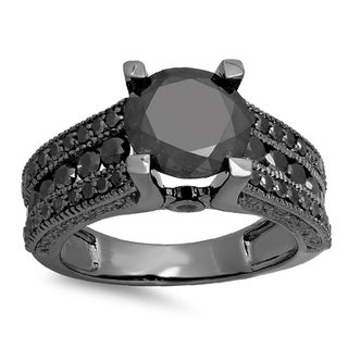 10k Black Gold 4ct TDW Black Diamond Vintage Bridal Engagement Ring