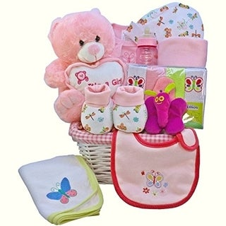 My Little Flutterby Pink Baby Girl Gift Basket with Teddy Bear