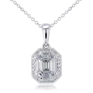 Annello 14k White Gold 1/2ct TDW Emerald-cut Diamond Art Deco Pendant and Chain (H-I, I1-I2)