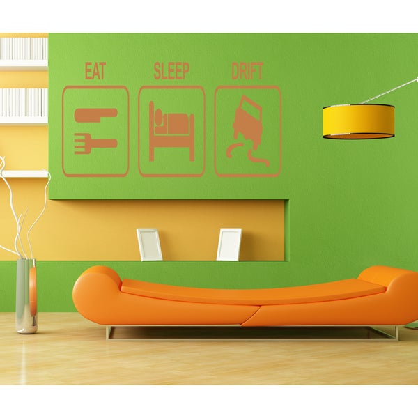 Eat Sleep Drift Science Wall Art Sticker Decal Orange