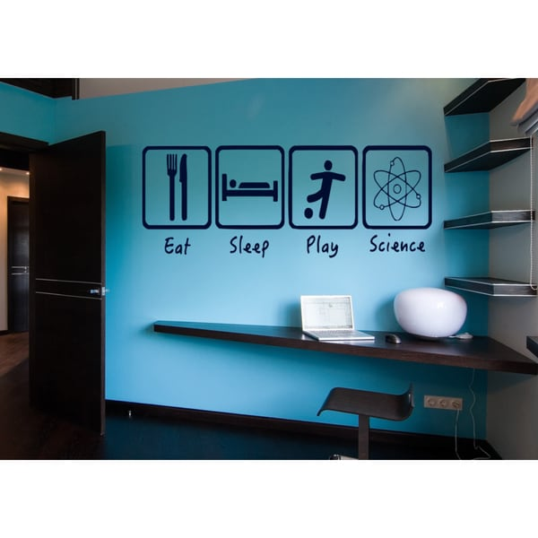 Eat Sleep Play Science Wall Art Sticker Decal Blue