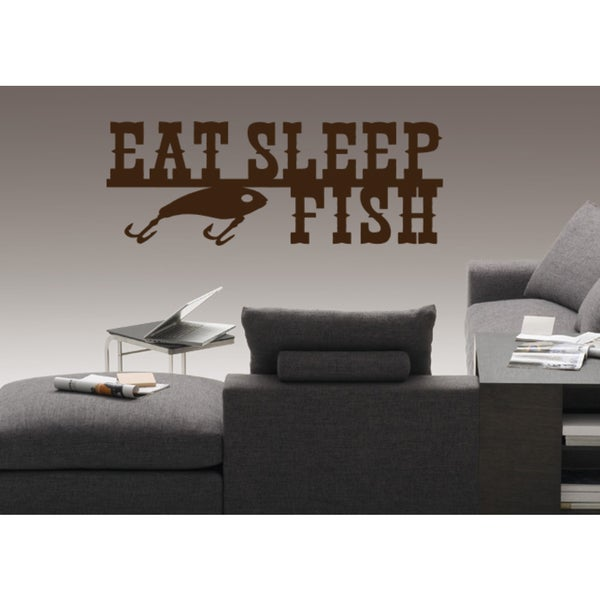 Eat Sleep Fish Wall Art Sticker Decal Brown